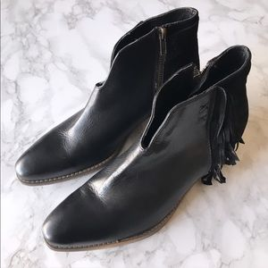 NWOB Diba True Black Leather Fringe Ankle Boots
